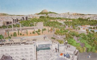 Ενα από τα αθηναϊκά έργα του Γιώργου Αυγέρου στην γκαλερί Ζουμπουλάκη, όπου παρουσιάζει την ενότητα με τίτλο «Νοητικές περιπλανήσεις».