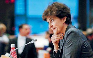 Η προτεινόμενη υποψήφια επίτροπος της Γαλλίας Σιλβί Γκουλάρντ, που προοριζόταν να αναλάβει το πανίσχυρο χαρτοφυλάκιο της Εσωτερικής Αγοράς και της Αμυνας της Ε.Ε., κατά τη δεύτερη ακρόασή της.