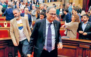 Ο Καταλανός πρόεδρος Κιμ Τορά χθες, στην αίθουσα της Βουλής της ισπανικής περιφέρειας.