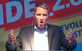 Ο Μπγιόρν Χέκε, υποψήφιος της AfD στη Θουρηγγία, σε πρόσφατη ομιλία του ενόψει των αυριανών εκλογών.