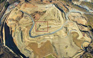 Η θέση όπου εντοπίστηκαν οι αρχαιότητες στο ανοιχτό όρυγμα.