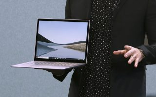 IMAGE DISTRIBUTED FOR ALLIANCE FOR MICROSOFT - Panos Panay unveils Surface Laptop 3 at Microsoft's Fall Event at Starrett-Lehigh on Wednesday, October 2, 2019 in New York. (Stuart Ramson/AP Images for Microsoft)
