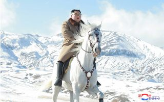 epa07923992 An undated photo released by the official North Korean Central News Agency (KCNA) shows Kim Jong-un, chairman of the Workers' Party of Korea, chairman of the State Affairs Commission of the Democratic People's Republic of Korea and supreme commander of the armed forces of the DPRK, riding riding a white horse through the first snow of Paektu Mountain, in Ryanggang, North Korea.  EPA/KCNA   EDITORIAL USE ONLY