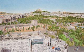 «Νοητικές περιπλανήσεις». Πίνακας από τη νέα ατομική έκθεση του Γιώργου Αυγέρου στην Γκαλερί Ζουμπουλάκη. Διάρκεια έως 9 Νοεμβρίου. Πλατεία Κολωνακίου 20.