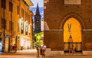 Με μια βόλτα στο ιστορικό κέντρο διαπιστώνει κανείς ότι ο νυχτερινός φωτισμός αναδεικνύει τη μνημειακότητα της Φεράρα. (Φωτογραφία: VISUALHELLAS.GR)