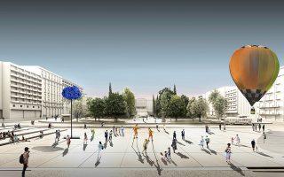 Στην πλατεία Συντάγματος προτείνεται η δημιουργία ενός πολυλειτουργικού υδραυλικού συστήματος ανυψούμενων επιπέδων, το οποίο θα ενώνει την πλατεία με την Ερμού.