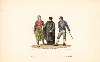 Ενας Ελληνας ιερέας, ένας Σπαρτιάτης (δεξιά) και ένας Υδραίος (αριστερά). Ο Σπαρτιάτης και ο Υδραίος αντιστοιχούν σε πραγματικά πορτρέτα Ελλήνων προσφύγων στη Ζυρίχη (ζωγραφιά του Ελβετού Γιόχαν Κόνραντ Φόσι, 1796-1870).