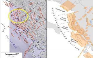 Αριστερά τα ενεργά ρήγματα Αλβανίας και Δυτικής Ελλάδος, ως σεισμογενετικές πηγές, ως γραμμικά στοιχεία και δεξιά ως