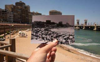 Παραλία στην Αλεξάνδρεια της Αιγύπτου το 1933 και το 2019. Η άνοδος της στάθμης των θαλασσίων υδάτων, που προκαλείται από την κλιματική αλλαγή, είναι πλέον ορατή και, σύμφωνα με τελευταία μελέτη, θα επηρεάσει τριπλάσιο αριθμό ανθρώπων από αυτόν που εκτιμούσε η επιστημονική κοινότητα μέχρι τώρα. Η Αλεξάνδρεια είναι μία από τις πόλεις που κινδυνεύουν να χαθούν κάτω από τη θάλασσα μέχρι το 2050.