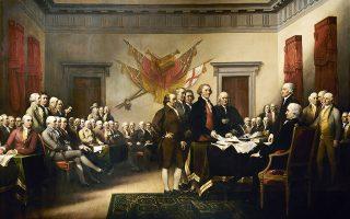 John Trumbull, 1819. Η κατάθεση στο Κογκρέσο της Αμερικανικής Διακήρυξης της Ανεξαρτησίας από την πενταμελή επιτροπή που τη συνέγραψε. Πρώτος από αριστερά ο Ανταμς, τέταρτος ο Τζέφερσον και πέμπτος ο Φραγκλίνος.