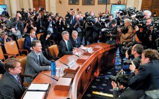 Ο αναπληρωτής υφυπουργός για Ευρωπαϊκές και Ευρασιατικές Υποθέσεις Τζορτζ Κεντ και ο επιτετραμμένος των ΗΠΑ στην Ουκρανία Γουίλιαμ Τέιλορ κατέθεσαν χθες στην αρμόδια επιτροπή της αμερικανικής Βουλής, στην πρώτη δημόσια –και σε απευθείας μετάδοση– συνεδρίαση της Βουλής των Αντιπροσώπων για την παραπομπή του Ντόναλντ Τραμπ με το ερώτημα της καθαίρεσης.