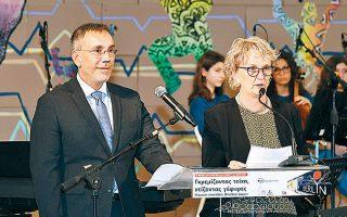 Οι διευθυντές των σχολείων, Annete Brunke-Kullik και Σταύρος Σάββας.