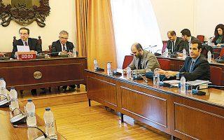Στιγμιότυπο από τη χθεσινή συνεδρίαση της προανακριτικής επιτροπής για την υπόθεση Παπαγγελόπουλου. Η κ. Μαραγγέλη υποστήριξε, μεταξύ άλλων, ότι τα μπόνους στην εταιρεία για την καλή πορεία των εργασιών της επανήλθαν τον καιρό των κυβερνήσεων ΣΥΡΙΖΑ.