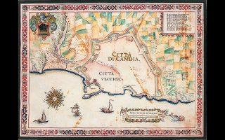 O παλαιός Χάνδακας τον 17ο αιώνα από τον χαρτογράφο και στρατιωτικό μηχανικό Φραντσέσκο Μπαζιλικάτα, που εργαζόταν για τη Δημοκρατία της Βενετίας.