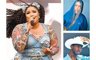 Η ποπ καλλιτέχνις Lizzo (επάνω), η 17χρονη εναλλακτική τραγουδίστρια Billie Eilish (επάνω δεξιά) και ο 20χρονος ράπερ Lil Nas X (κάτω) έχουν τις περισσότερες υποψηφιότητες.