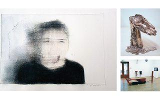 Νίκος Καναρέλης, «Angry 01», 2019, μελάνη, χρωματιστά μολύβια, γραφίτης σε χαρτί (αριστερά). Μαλβίνα Παναγιωτίδη, «Wrong side of the bed», 2019, μέταλλο, φυσητό γυαλί, δερματίνη, ξύλο (λεπτομέρεια) (επάνω δεξιά). Μαρία Θεοδωράκη, «Pink Stack or lying underneath a real Anthony Caro for eight and a half minutes», 2009, βιντεοστιγμιότυπο (κάτω δεξιά).