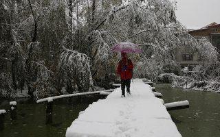 epa07978072 A person walks over a snow covered brigde in Srinagar, Kashmir, India, 07 November 2019. The heavy reginal snowfall in Indian Kashmir caused disruption to traffic and saw the Jammu-Srinagar National Highway close.  EPA/FAROOQ KHAN