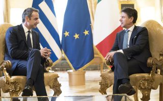 epa08026705 A handout photo made available by the Chigi Palace (Palazzo Chigi) Press Office shows Italian Prime Minister Giuseppe Conte (R) receiving Greek Prime Minister Kyriakos Mitsotakis (L) at Chigi Palace in Rome, Italy, 26 November 2019. Mitsotakis is on an official visit to Italy where he will discuss the migration-refugee crisis with his Italian counterpart.  EPA/FILIPPO ATTILI/CHIGI PALACE PRESS OFFICE HANDOUT  HANDOUT EDITORIAL USE ONLY/NO SALES