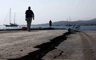 Εικόνα από το λιμάνι της Κω μετά τον σεισμό του 2017.