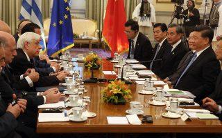 Ο Πρόεδρος της Δημοκρατίας Προκόπης Παυλόπουλος (2-Α) μιλά απευθυνόμενος στον Κινέζο Πρόεδρο Xi Jinping (2-Δ) στο Προεδρικό Μέγαρο στην Αθήνα, Δευτέρα 11 Νοεμβρίου 2019. Ο Κινέζος Πρόεδρος πραγμαοποιεί διήμερη επίσημη επίσκεψη στην Ελλάδα. ΑΠΕ-ΜΠΕ/ΑΠΕ-ΜΠΕ/ΜΠΕΛΤΕΣ ΑΛΕΞΑΝΔΡΟΣ