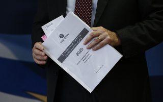 Ο υφυπουργός Οικονομικών, αρμόδιος για την δημοσιονομική πολιτική, Θεόδωρος Σκυλακάκης κρατάει το έντυπο κατάθεσης του προϋπολογισμού της χώρας για το 2020, κατά τη διάρκεια συνέντευξης τύπου στο υπουργείο, Αθήνα Πέμπτη 21 Νοεμβρίου 2019.ΑΠΕ-ΜΠΕ/ΑΠΕ-ΜΠΕ/ΓΙΑΝΝΗΣ ΚΟΛΕΣΙΔΗΣ
