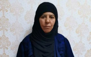 Rasmiya Awad, believed to be the sister of slain Islamic State leader Abu Bakr al-Baghdadi, who was captured on Monday in the northern Syrian town of Azaz by Turkish security officials, is seen in an unknown location in an undated picture provided by Turkish security officials. Turkish Security Officials/Handout via REUTERS ATTENTION EDITORS - THIS IMAGE HAS BEEN SUPPLIED BY A THIRD PARTY.     TPX IMAGES OF THE DAY