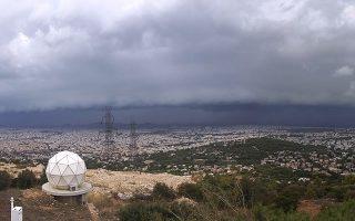 Το shelf cloud από το πανόραμα καμερών του Αστεροσκοπείου Πεντέλης
