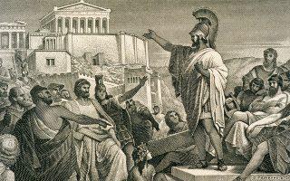 Στο βιβλίο, ιδιαίτερη αναφορά γίνεται στη διάκριση των εξουσιών και στις ασφαλιστικές δικλίδες που είχε δημιουργήσει η αθηναϊκή δημοκρατία και λειτουργούσαν σαν απο-συγκολλητική ουσία στη συνεκτικότητα της εξέχουσας ελίτ (στην γκραβούρα απεικονίζεται ο Περικλής να αγορεύει στην Πνύκα). SHUTTERSTOCK