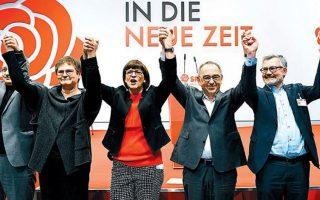 Ενθουσιασμός από τη νέα ηγεσία του SPD, αποτελούμενη από τον Νόρμπερτ Βάλτερ Μπόργιανς και τη Σάσκια Εσκεν, στο συνέδριο του κόμματος.