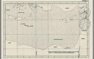 Ο χάρτης που συμπεριελήφθη στο σύμφωνο οριοθέτησης θαλάσσιων ζωνών ανάμεσα στην Τουρκία και τη Λιβύη, το οποίο υπεγράφη από την Αγκυρα και την απόλυτα εξαρτώμενη από αυτήν κυβέρνηση της Τρίπολης. Με δεδομένη τη νέα «πραγματικότητα», όπως την αντιλαμβάνεται η Αγκυρα, το τουρκικό ναυτικό θα μπορεί να προβαίνει σε νηοψία στη ζώνη η οποία προκύπτει σε μια περιοχή που ξεκινά από τα νοτιοανατολικά της Κρήτης με πορεία νοτιοδυτικά προς τη Λιβύη.