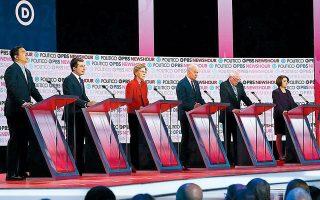 Οι συμμετέχοντες στην τηλεμαχία των υποψηφίων για το χρίσμα των Δημοκρατικών, στο Λος Αντζελες. Από αριστερά, ο επιχειρηματίας Αντριου Γιανγκ, ο δήμαρχος του Σάουθ Μπεντ στην Ιντιάνα Πιτ Μπάτιγκιγκ, η γερουσιαστής Ελίζαμπεθ Ουόρεν, ο πρώην αντιπρόεδρος Τζο Μπάιντεν, ο γερουσιαστής Μπέρνι Σάντερς, η γερουσιαστής Εϊμι Κλόμπουτσαρ και ο δισεκατομμυριούχος οικολόγος ακτιβιστής Τομ Στάιερ. REUTERS/MIKE BLAKE