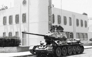 Σοβιετικό άρμα Τ-34 της Εθνικής Φρουράς. Τα άρματα αυτά χρησιμοποιήθηκαν στο πραξικόπημα το πρωί της 20ής Ιουλίου.