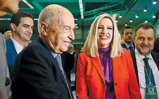 Κ. Σημίτης και Φ. Γεννηματά στο συνέδριο του ΠΑΣΟΚ, τον Νοέμβριο.