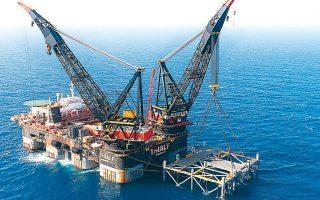 Εξέδρα άντλησης αερίου στο οικόπεδο «Λεβιάθαν» στη Μεσόγειο, στα ανοικτά των ισραηλινών ακτών, από όπου θα αντληθεί φυσικό αέριο για εξαγωγή στην Αίγυπτο.