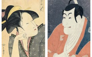 «Η στοχαστική αγάπη», ένα από τα γυναικεία πορτρέτα του Ουταμάρο (αριστερά), το εκφραστικό πρόσωπο ενός ηθοποιού του Καμπούκι του Σαράκου (μέση) και οι «Γάτες που χορεύουν» του Κουνιγιόσι (κάτω). Τρεις από τους πέντε δημοφιλείς εκπροσώπους του Ουκίγιο-ε που παρουσιάζονται στο Μουσείο Εντο.