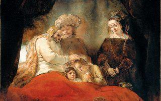 «Ο Ιακώβ ευλογεί τους γιους του Ιωσήφ» (1656). Λάδι σε καμβά, έργο διάσημο για τη «χρήση» της σκιάς και του φωτός.