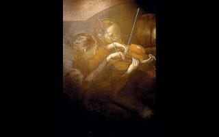 Λεπτομέρεια από έργο του Γιώργου Κουρκούβελου στην γκαλερί «δ.» του Βόλου.