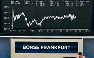 Στο Λονδίνο ο FTSE 100 έκλεισε με -0,70%, στη Φρανκφούρτη (φωτ.) ο DAX με -0,65%, στο Μιλάνο ο FTSE MIB με -0,28%.