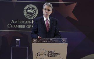 Ο Αμερικανός πρεσβευτής στην Ελλαδα Geoffrey Pyatt μιλάει στο 30o Annual Greek Economic Summit που διοργάνωσε το Ελληνο-Αμερικανικό Εμπορικό Επιμελητήριο, Αθήνα, Τρίτη 03 Δεκεμβρίου 2019. ΑΠΕ-ΜΠΕ/ΑΠΕ-ΜΠΕ/ΚΩΣΤΑΣ ΤΣΙΡΩΝΗΣ