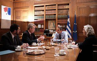 Ο Τζ. Πάιατ και ο Κυρ. Μητσοτάκης χθες στο Μαξίμου. Ο Αμερικανός πρέσβης σε ανάρτησή του στο Τwitter έκανε λόγο για άριστη συνάντηση, καθαρό σημάδι της αυξανόμενης σημασίας της Ελλάδας για την Ουάσιγκτον ως πυλώνα σταθερότητας σε αυτή τη σημαντική και περίπλοκη περιοχή.
