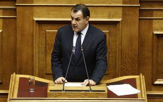 Ο υπουργός Εθνικής Άμυνας Νίκος Παναγιωτόπουλος μιλάει από το βήμα στη συζήτηση για τον Προϋπολογισμό του 2020 στην Ολομέλεια της Βουλής, Τετάρτη 18 Δεκεμβρίου 2019. Συνεχίζεται η συζήτηση στη Βουλή για τον Προϋπολογισμό του 2020,  η οποία θα ολοκληρωθεί με ψηφοφορία σήμερα το βράδυ.  ΑΠΕ- ΜΠΕ/ΑΠΕ- ΜΠΕ/ΑΛΕΞΑΝΔΡΟΣ ΒΛΑΧΟΣ