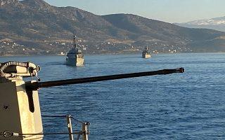 Στιγμιότυπο από τις εθνικές τεχνικές ασκήσεις μικρής κλίμακας «ΒΡΟΝΤΗ» και «ΟΡΜΗ», με την συμμετοχή πλοίων της Διοίκησης Ταχέων Σκαφών και της Διοίκησης Πλοίων Επιτήρησης.