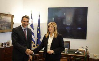 Στιγμιότυπο από προηγούμενη συνάντηση της κ. Γεννηματά με τον κ. Μητσοτάκη.