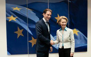 Ο Αυστριακός καγκελάριος Κουρτς και η Ούρσουλα φον ντερ Λάιεν την Κυριακή στις Βρυξέλλες.