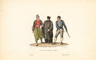 Μορφές που αντιστοιχούν στους Έλληνες πρόσφυγες, όπως τους σχεδίασαν Ελβετοί καλλιτέχνες της εποχής. © Johann Conrad Fasi