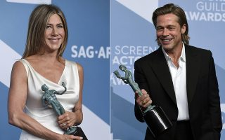 This combination photo shows Jennifer Aniston with the award for outstanding performance by a female actor in a drama series for