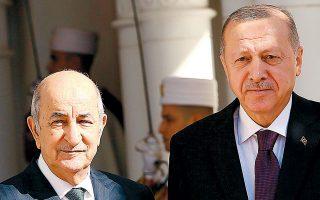 Ο Τούρκος πρόεδρος με τον ομόλογό του Αμπντελματζίντ Τεμπούν κατά την πρόσφατη επίσκεψή του στην Αλγερία.