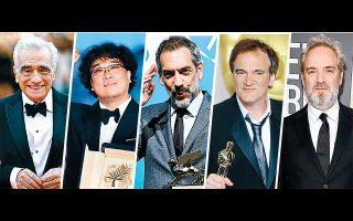 Από αριστερά προς δεξιά, οι υποψήφιοι για το φετινό Οσκαρ σκηνοθεσίας, σε μια μάχη που αναμένεται εξίσου αμφίρροπη με αυτήν της καλύτερης ταινίας: Μάρτιν Σκορσέζε, Μπονγκ Τζουν Χο, Τοντ Φίλιπς, Κουέντιν Ταραντίνο και Σαμ Μέντες.
