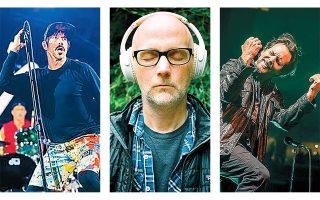 Ο Αντονι Κίντις (αριστερά) των Red Hot Chili Peppers, ο Moby (κέντρο) και ο Εντι Βέντερ (δεξιά) των Pearl Jam: και οι τρεις ηχογραφούν ή πρόκειται να κυκλοφορήσουν νέα άλμπουμ.