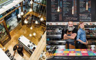 Αριστερά, τo Taf Coffee Shop στην Εμμανουήλ Μπενάκη και δεξιά η Τάνια Κωνσταντίνοβα και ο Νίκος Μπουρμπάκης στο Δυο γουλιές & δυο μπουκιές.